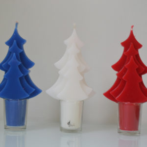 Bougies trio sapins bleu blanc rouge