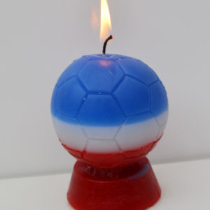 Bougie ballon de foot bleu blanc rouge