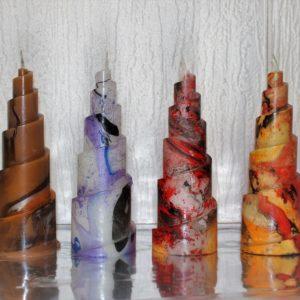 Bougies décoratives Spirales marbrées unies